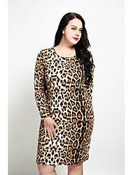 cheap -Women's Plus Size Sheath Dress - Leopard