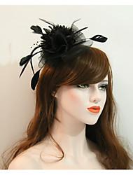 economico -copricapo di cappelli di fiori rete piuma elegante stile femminile classico