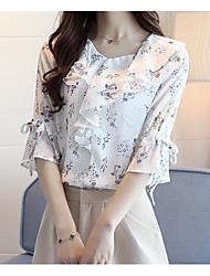 baratos -Mulheres Blusa Estampado Poliéster
