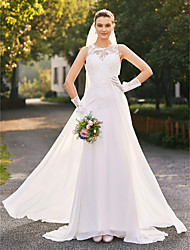 cheap -A-Line Illusion Neckline Sweep / Brush Train Chiffon Corded Lace Custom Wedding Dresses with Lace by LAN TING BRIDE®