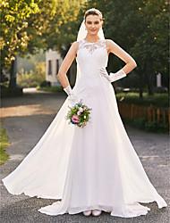 abordables -Corte en A Escote de ilusión Raso Encaje Vestido de novia con Encaje por LAN TING BRIDE®