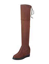 cheap -Women's Shoes Spandex Nubuck leather Winter Fall Fashion Boots Combat Boots Boots Platform Wedge Heel Round Toe Over The Knee Boots