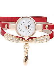 Недорогие -Жен. Часы-браслет Повседневные часы Кварцевый Кожа Группа Черный Белый Синий Красный Оранжевый Зеленый Золотистый