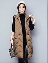 Dámské Dlouhé Dlouhý kabát Šik ven Jdeme ven Jednobarevné-Kabát Bavlna Polyester Šetrný k životnímu prostředí Polyester Bez rukávů