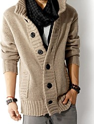 cheap -Men's Daily Casual Solid Shirt Collar Cardigan, Long Sleeves Winter Fall
