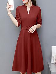cheap -Women's A Line Dress - Solid V Neck