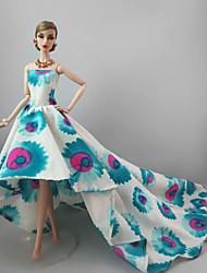 Festa/Noite Vestidos Para Boneca Barbie Azul/branco Vestidos Para Menina de Boneca de Brinquedo