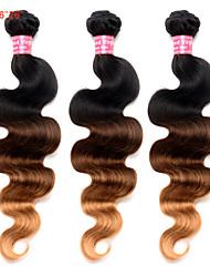 cheap -Malaysian Hair Ombre Hair Weaves 3 Bundles Human Hair Weaves Black / Medium Brown / Strawberry Blonde Women's