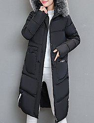 cheap -Women's Long Padded Coat,Casual Daily Solid-Cotton Long Sleeve