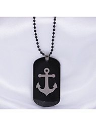 cheap -Men's Stainless Steel Pendant Necklace - Black Necklace For Daily Casual