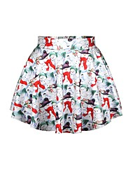 サンタスーツ スカート 女性用 クリスマス イベント/ホリデー ハロウィーンコスチューム 虹色 プリント