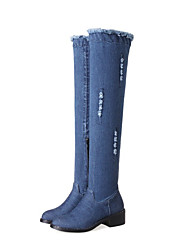 cheap -Women's Shoes Denim Winter Fall Fashion Boots Boots Thigh-high Boots for Casual Blue Light Blue