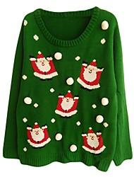 Ternos de Papai Noel Tricotar e Costurar Feminino Natal Festival / Celebração Trajes da Noite das Bruxas Verde Padrão