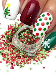 cheap -1Bottle Nail Art Mix Color Red Green Christmas Nail Art Shining 3D Round Sequins Paillette Nail Art DIY Beauty Glitter Slice Xmas Decoration SD1