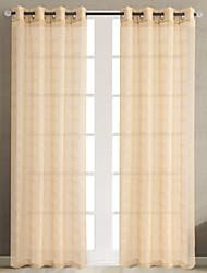 Недорогие -Нанизать стержень занавески Люверс занавески Вешалка занавески Морщиться В обтяжку Окно Лечение Modern Деревенский, Жаккардовое