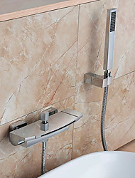 cheap -Contemporary Wall Mounted Waterfall Handshower Included Chrome, Bathtub Faucet