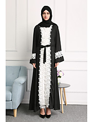 cheap -Women's Party Daily Wear Casual Kaftan Dress,Solid Color Block Stitching Lace Round Neck Maxi Long Sleeve Polyester All Season High Waist