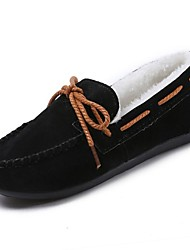 Women's Shoes PU Winter Fur Lining Comfort Boat Shoes Round Toe For Casual Outdoor Wine Brown Gray Black