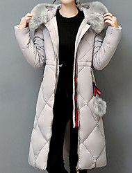 Women's Padded Coat,Casual Daily To-Go Solid-Acrylic Long Sleeves