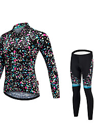 Cycling Jersey with Tights Unisex Long Sleeves Bike Tights Jersey Reflective Strip Fast Dry Quick Dry Anatomic Design Low-friction YKK