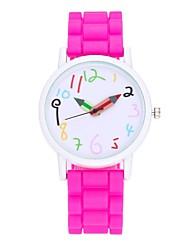 baratos -Mulheres Relógio de Pulso Relógio Elegante Relógio de Moda Chinês Quartzo Relógio Casual Silicone Banda Vintage Casual Preta Branco Azul