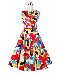 Women's Daily Holiday Sheath Dress,Print Round Neck Midi Sleeveless Polyester High Waist Inelastic Medium