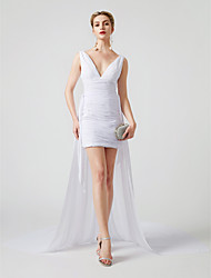 cheap -Sheath / Column Plunging Neck Short / Mini Chiffon / Tulle Convertible Dress / Open Back / Celebrity Style Cocktail Party Dress with Criss Cross / Ruched by TS Couture®