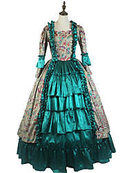 cheap -One-Piece/Dress Party Costume Masquerade Steampunk® Elegant Lace-up Victorian Cosplay Lolita Dress Green Floral Vintage Long Sleeves Dress