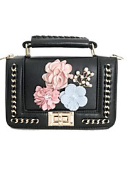 cheap -Women's Bags PU Tote Buttons / Flower White / Black / Blushing Pink