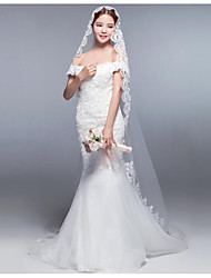 cheap -One-tier Lace Applique Edge Bridal Lace Wedding Accent/Decorative Modern/Contemporary Wedding Veil Blusher Veils Fingertip Veils 53