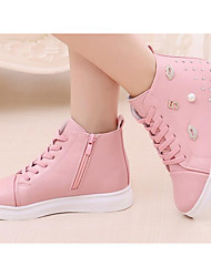 cheap -Girls' Shoes Synthetic Microfiber PU Winter Fall Comfort Flower Girl Shoes Sneakers Walking Shoes Booties/Ankle Boots Rivet Lace-up for