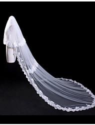 cheap -Two-tier Lace Applique Edge Bridal Double-layer Lace Wedding Wedding Veil Blusher Veils Cathedral Veils 53 Appliques Lace Paillette Tulle