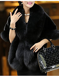cheap -Women's Daily Street chic Winter Fur Coat,Solid V Neck Sleeveless Regular Fox Fur