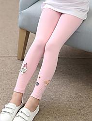 cheap -Girls' Solid Jacquard Cartoon Pants, Cotton Spring Fall Cute Casual Active Cartoon Black Blushing Pink Gray