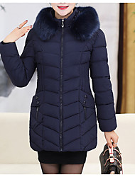 cheap -Women's Padded Coat,Sophisticated Daily Solid-Cotton Polyester Long Sleeves