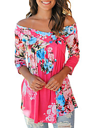 cheap -Women's Boho Cotton Rayon Loose Shirt Print Off Shoulder