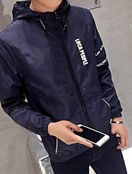 Men's Daily Sports Street chic Fall Jackets,Solid Letter Hooded Long Sleeve Regular Polyester