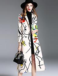 Manteau Femme,Imprimé Sortie Décontracté / Quotidien simple Chic de Rue Sophistiqué Automne Hiver Longue Laine Modal Polyester