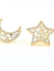 cheap -Women's Mismatch Star Cubic Zirconia Rose Gold Zircon Gold Plated Stud Earrings - Mismatch Elegant Fashion Sweet Moon Star For Gift Date