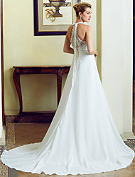 cheap -A-Line Princess Jewel Neck Sweep / Brush Train Chiffon Floral Lace Wedding Dress with Appliques Lace by LAN TING BRIDE®