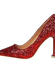 Femme Chaussures Similicuir Printemps Automne Confort Chaussures à Talons Bout pointu Pour Habillé Argent Arc-en-ciel Rouge Bleu Champagne