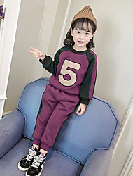 cheap -Girls' Letter & Number Clothing Set, Cotton Polyester Winter Fall Purple