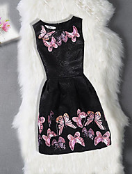 cheap -Girl's Birthday Going out Floral Jacquard Butterfly Dress,Cotton Polyester Sleeveless Cute Casual Princess Black