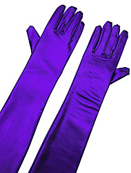 cheap -Faux Leather Opera Length Glove Bridal Gloves With Rhinestone