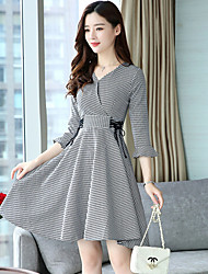 cheap -Women's Daily Going out A Line Sheath Dress,Houndstooth Check V Neck Knee-length 3/4 Sleeve Cotton Polyester Fall High Waist Inelastic