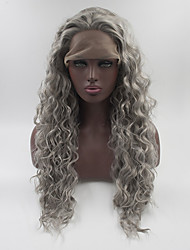cheap -Women Synthetic Wig Lace Front Medium Length Long Grey Natural Wigs Costume Wig