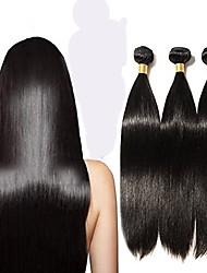 baratos -Cabelo Peruviano Liso Cabelo Remy Cabelo Humano Ondulado Tramas de cabelo humano Preto Natural Mulheres / Reto