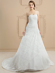 cheap -A-Line Sweetheart Court Train Lace Tulle Custom Wedding Dresses with Beading Appliques by LAN TING BRIDE®