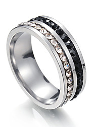 cheap -Men's Women's Band Rings Cubic Zirconia Metallic Stainless Steel Circle Jewelry For Party Bikini 7 8 9 10 11