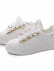 abordables -Femme Chaussures Microfibre Printemps Automne Confort Basket Imitation Perle Pour Décontracté Blanc